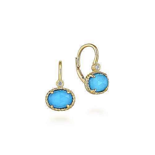 14K Yellow Gold Diamond Rock Crystal and Turquoise Oval Drop Earrings