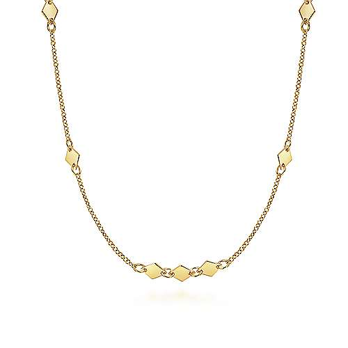 14K Yellow Gold Diamond Shaped Disc Station Necklace