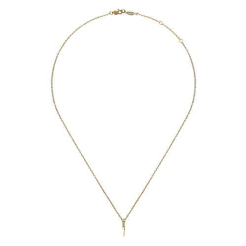 14K Yellow Gold Diamond Spike Pendant Necklace