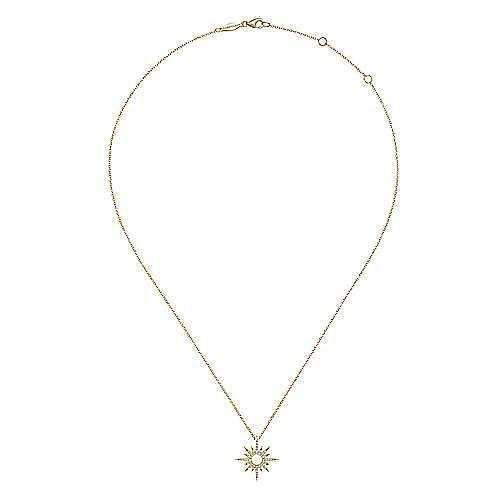 14K Yellow Gold Diamond Spike Starburst Pendant Diamond Necklace