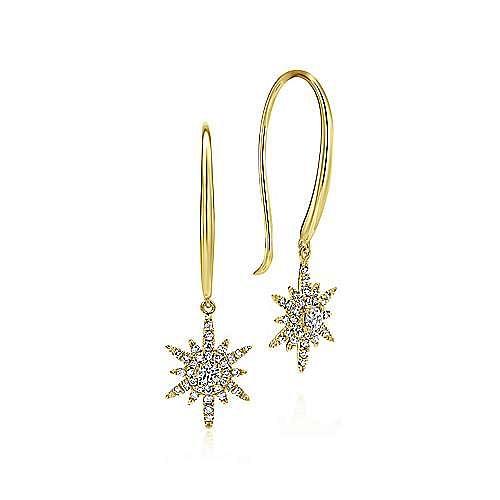 14K Yellow Gold Diamond Star Drop Earrings