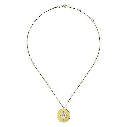 14K Yellow Gold Diamond Star Medallion Necklace