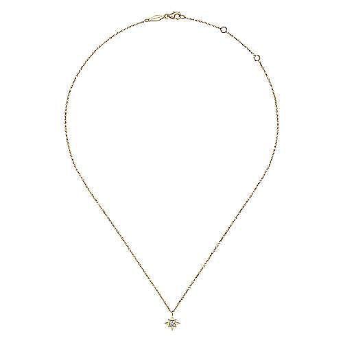 14K Yellow Gold Diamond Star Pendant Necklace