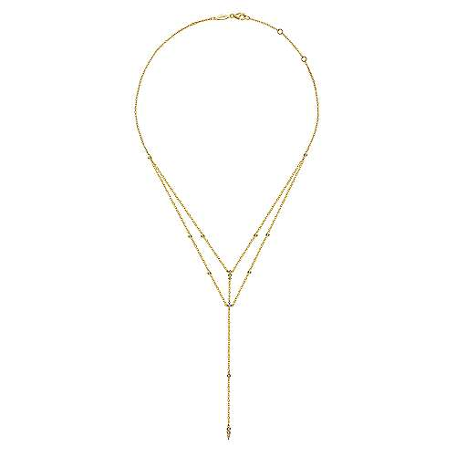 14K Yellow Gold Diamond Station Layered Y Necklace
