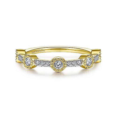 14K Yellow Gold Diamond Station Stackable Ring