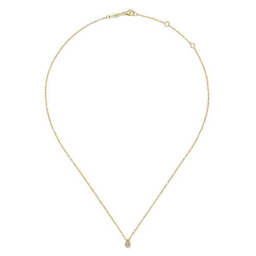 14K Yellow Gold Diamond Teardrop Pendant Necklace