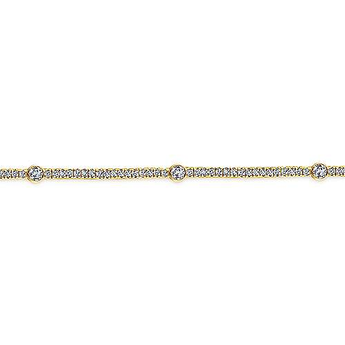 14K Yellow Gold Diamond Tennis Bracelet with Bezel Set Diamond Stations