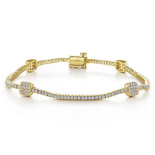 14K Yellow Gold Diamond Tennis Bracelet with Diamond Cube Stations