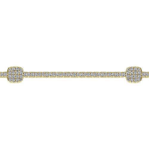 14K Yellow Gold Diamond Tennis Bracelet with Diamond Cube Stations