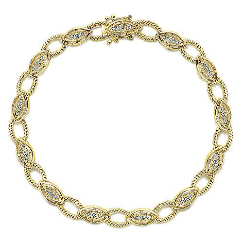 14K Yellow Gold Diamond Tennis Bracelet with Twisted Rope Links