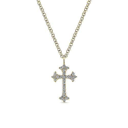 14K Yellow Gold Diamond Trefoil Cross Necklace