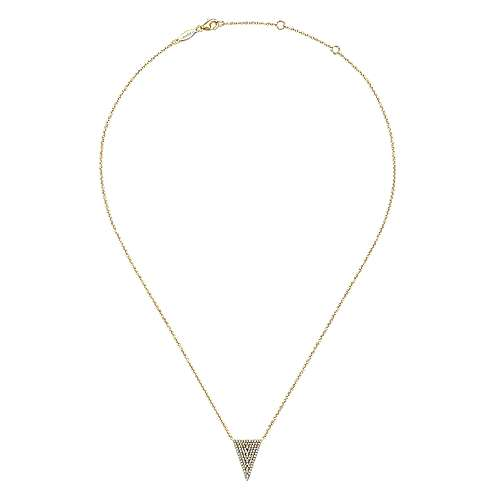 14K Yellow Gold Diamond Triangle Pendant Necklace