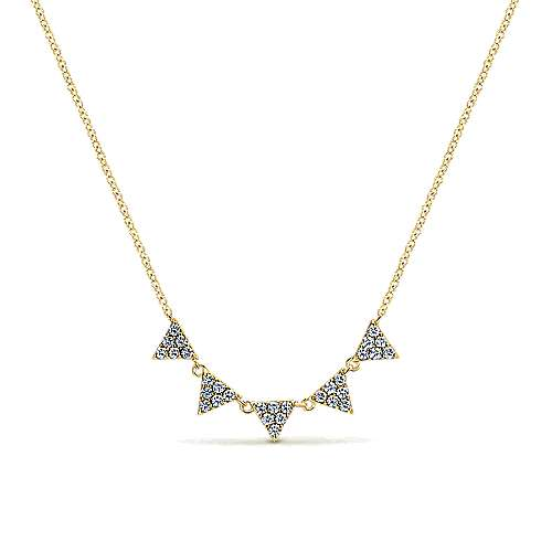 14K Yellow Gold Diamond Triangle Station Necklace