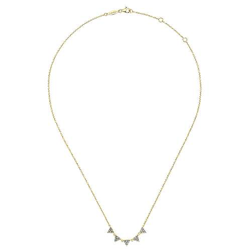 14K Yellow Gold Diamond Triangle Station Necklace