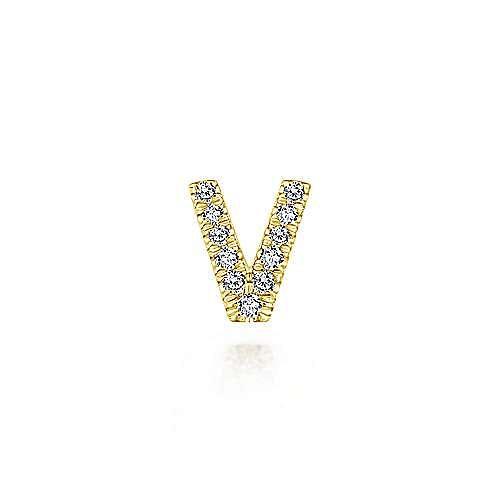 14K Yellow Gold Diamond V Pendant