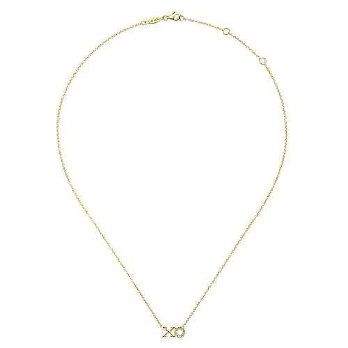 14K Yellow Gold Diamond XO Pendant Necklace