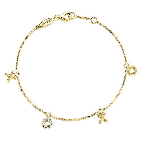 14K Yellow Gold Diamond XOXO Bracelet