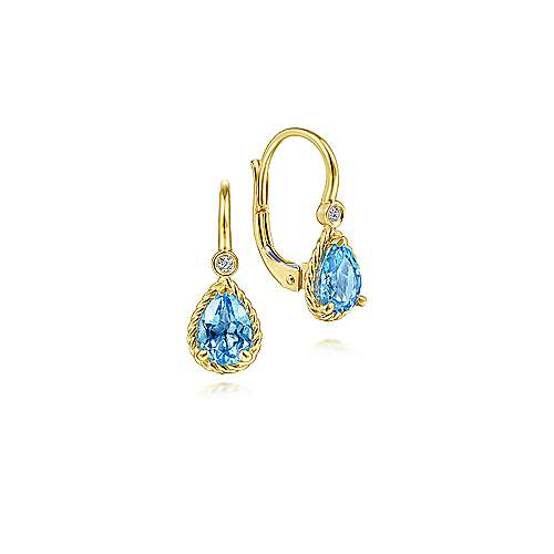 14K Yellow Gold Diamond and Blue Topaz Earrings