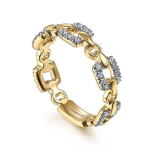 14K Yellow Gold Diamond and Chain Link Ring
