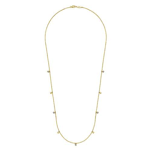 14K Yellow Gold Diamond and Disc Station Necklace