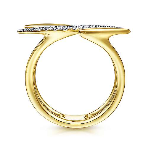 14K Yellow Gold Diamond and Plain Band Spike Ring