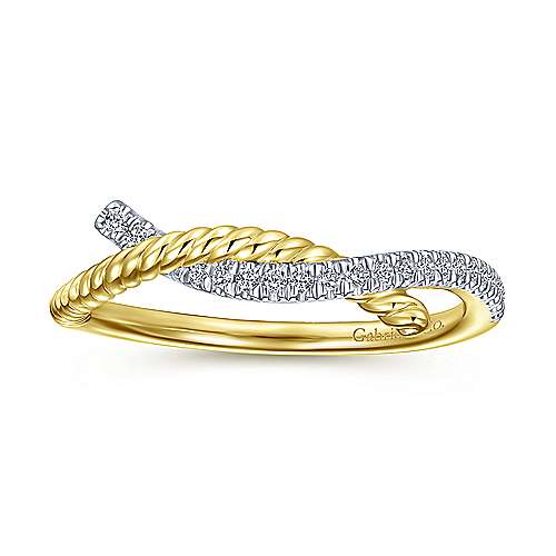 14K Yellow Gold Diamond and Twisted Rope Knot Ring