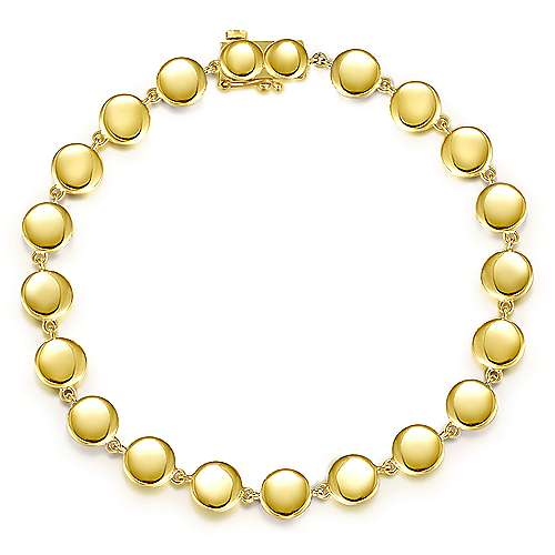 14K Yellow Gold Disc Station Tennis Bracelet