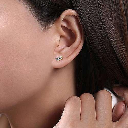 14K Yellow Gold Double Bar Diamond and Sapphire Stud Earrings