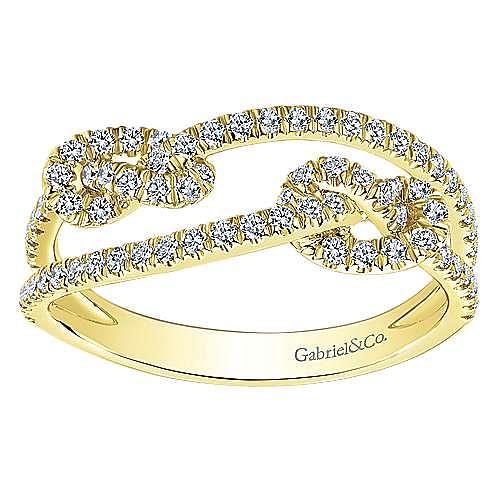 14K Yellow Gold Double Love Knot Pavé Diamond Ring