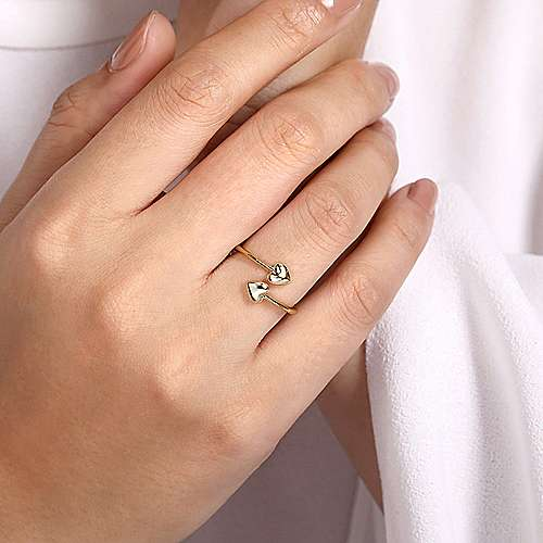 14K Yellow Gold Double Puffed Heart Bypass Ring