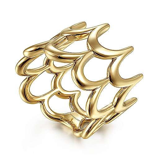 14K Yellow Gold Double Scalloped Wide Band Ring