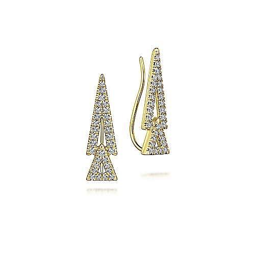 14K Yellow Gold Double Triangle Diamond Crawler Earrings