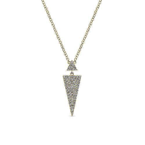14K Yellow Gold Double Triangle Diamond Pendant Necklace