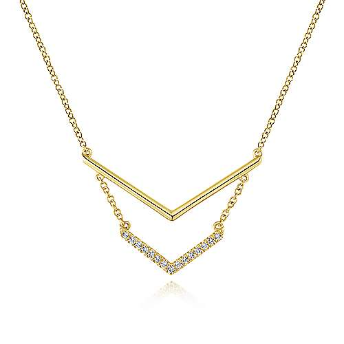 14K Yellow Gold Double V Bar Diamond Necklace