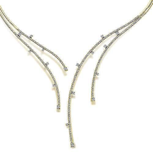 14K Yellow Gold Dramatic Open Diamond Statement Necklace