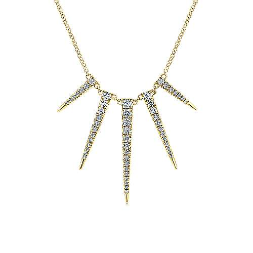 14K Yellow Gold Edgy Spikes Diamond Necklace