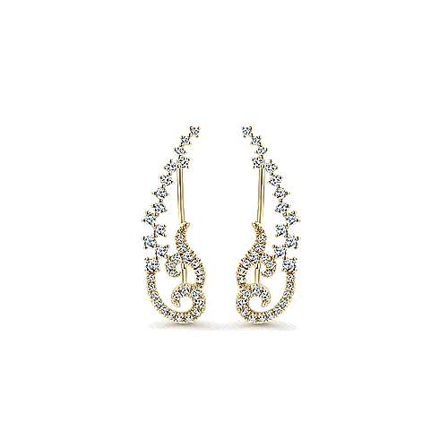 14K Yellow Gold Elaborate Diamond Earring Climbers