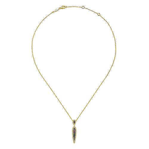 14K Yellow Gold Elongated Black Mother Of Pearl and Diamond Pendant Necklace