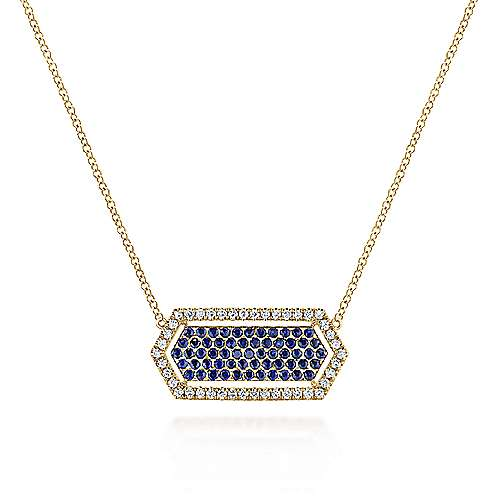14K Yellow Gold Elongated Hexagonal Diamond and Sapphire Pendant Necklace
