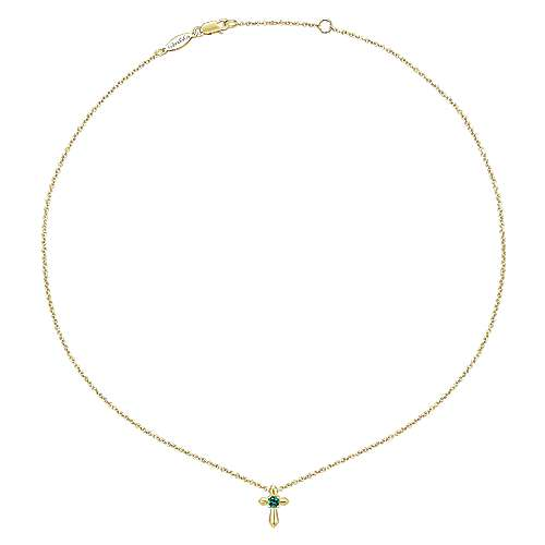 14K Yellow Gold Emerald Cross Pendant Necklace