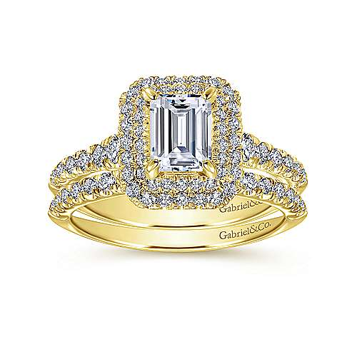 14K Yellow Gold Emerald Cut Diamond Engagement Ring