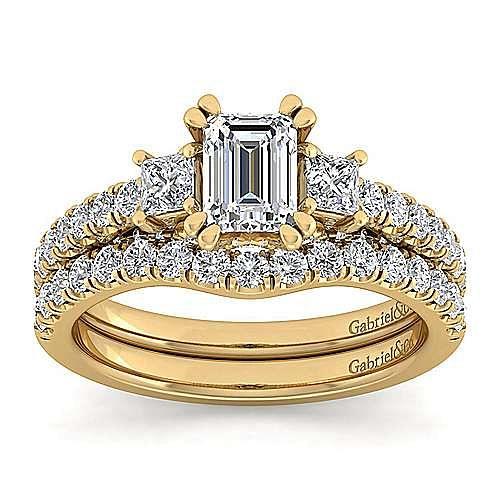14K Yellow Gold Emerald Cut Diamond Engagement Ring