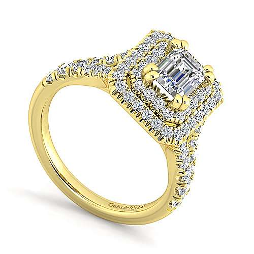 14K Yellow Gold Emerald Cut Double Halo Diamond Engagement Ring