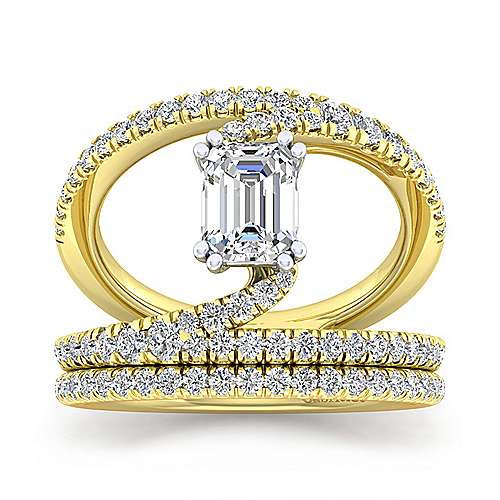 14K Yellow Gold Emerald Cut Split Shank Diamond Engagement Ring