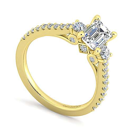 14K Yellow Gold Emerald Cut Three Stone Diamond Engagement Ring