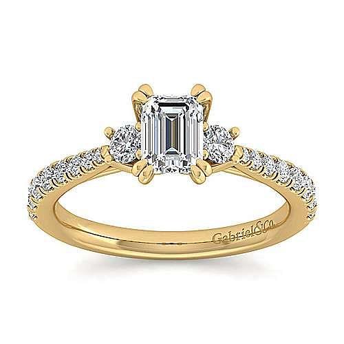 14K Yellow Gold Emerald Cut Three Stone Diamond Engagement Ring