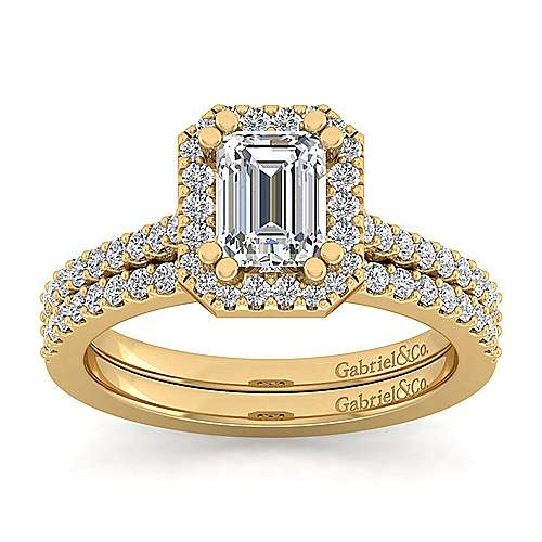 14K Yellow Gold Emerald Halo Diamond Engagement Ring