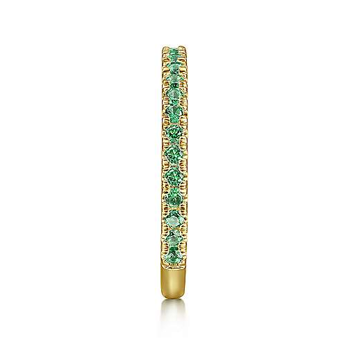 14K Yellow Gold Emerald Stacklable Ring