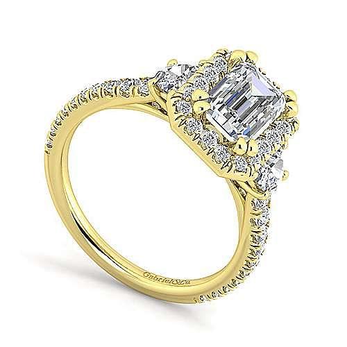 14K Yellow Gold Emerald Three Stone Halo Diamond Engagement Ring