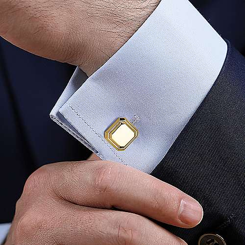 14K Yellow Gold Engravable Square Cufflinks